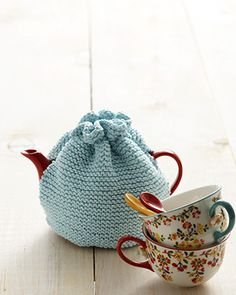 Practice the knit stitch and add a couple seams and make your first tea cozy!
