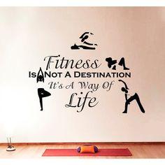 Fitness Yoga Quote Vinyl Sticker Wall Art