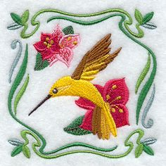 Four Seasons Nouveau Tile - Summer Flowers and Hummingbird design (F6529) from www.Emblibrary.com
