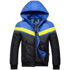39.51$  Watch now - http://di9q5.justgood.pw/go.php?t=202153510 - Color Block Spliced Hooded Zip Up Thicken Padded Jacket 39.51$