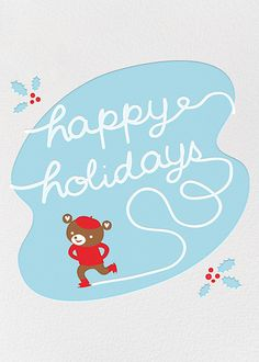 Cub Skate by Fugu Fugu Press for Paperless Post. Customizable and available with individual recipient addressing. View more holiday cards on paperlesspost.com. #seasons_greetings  #holiday #happy_holidays  #greeting_cards
