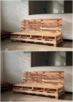 Dismantle the wood pallets and cut them out in different sizes and put it all together on the bench designing as in the vertical positioning effect. You can use this idea of wood pallet as the innovative creation to beautifully locate house with the mind-blowing bench design. #Palletfurniture Wooden Pallet Crafts, Wooden Pallets, Pallet Projects, Pallet Ideas, Pallet Garden Furniture, Cool Furniture, Furniture Design, Furniture Ideas, Pallet Mud Kitchen Ideas