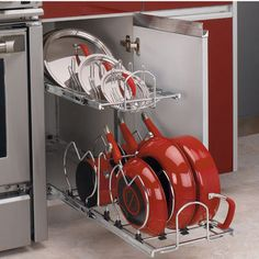 Two-Tier Pots, Pans and Lids Organizer for Kitchen Cabinet - Heavy-Duty Chrome Plated Wire Frame - by Rev-A-Shelf | KitchenSource.com