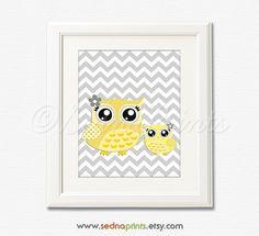 Yellow and Grey Nursery Art Print  8x10  Children by SednaPrints, $13.50