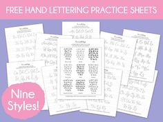 Free Hand Lettering Practice Sheets: 9 Styles! Download all 9 styles and get your lettering practice on! Includes pen recommendations for each style. | dawnnicoledesigns.com
