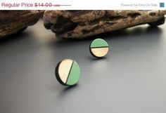 ON SALE Painted circle wood stud earrings color block by JewelRiot, $10.50