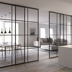 Our Piazza doors are made in style made famous by Crittall. We have hinged doors, sliding doors, pocket doors and glass partitions Sliding Door Room Dividers, Glass Partition Wall, Living Room Partition, Glass Room Divider, Room Divider Doors, Room Doors, Sliding Glass Door, Living Room Sliding Doors, Kitchen Sliding Doors
