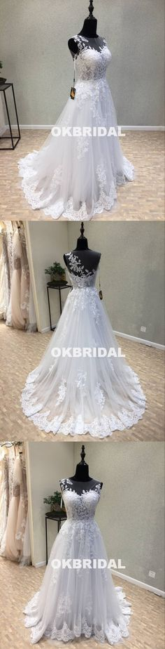 Long Tulle Cheap Applique Wedding Dresses, A-Line Lace Wedding Dresses, KX1092 #okbridal
