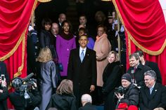 President Barack Obama and the First Family Take one Last Look at the Crowd Gathered for his Second Inaugural - 1/21/13