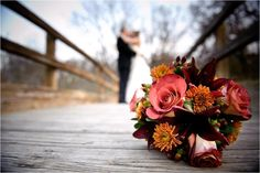Fall Wedding Bouquets | Stunning fall bridal bouquet with pink roses and orange and maroon ...