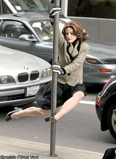 street sign pole dancing haha. I hope I dont get tempted to try this
