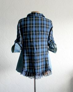 Womens, upcycled, boho chic, blue plaid, fit and flare top in size small to small/medium. One-Of-A-Kind, Eco-Friendly, Handmade Clothing for Women, Plus Size Women and Children.  JESSICA Shirt  This one of a kind top is made from soft cotton and features denim and tribal fabric accents, tab-up sleeves and lace trim on the bottom. Womens size small to small/medium Bust: will fit 33-35 inches (84-89 cm) Waist: will fit up to 33 inches comfortably (84 cm) Length from top of the shoulder to…