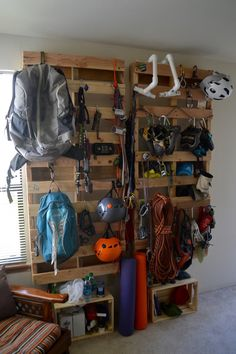 climbing gear wall - great way to repurpose pallets!climbing gear wall - great way to repurpose pallets! Camping Gear, Outdoor Camping, Camping Outdoors, Family Camping, Camping Mats, Outdoor Gear, Backpacking Gear, Camping Jokes, Outdoor Knife