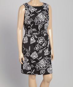 Another great find on #zulily! Black & White Floral Belted Shift Dress - Plus #zulilyfinds