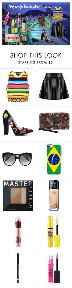 """""""My style inspiration"""" by acgodinho ❤ liked on Polyvore featuring Topshop, Boohoo, Sakroots, Alexander McQueen, Casetify, Maybelline, Brazil and fashionset"""