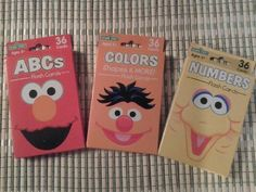Sesame Street Flash Cards - Set of 3 - Abc's, Numbers & Colors, Shapes & More Sesame Workshop http://www.amazon.com/dp/B008CBW566/ref=cm_sw_r_pi_dp_zHOBvb1BD2P8K
