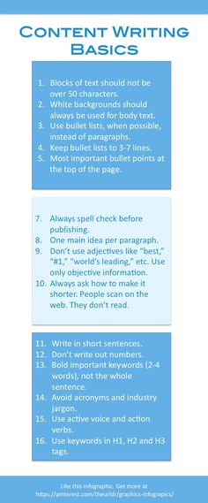 Content Writing Basics - Some good basic rules to consider. But I'd argue that every business and every audience is different, so do take these with a grain of salt.