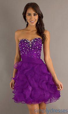 Short Strapless Purple Prom Dress at SimplyDresses.com