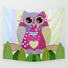 Cute Patterns Flower Power Owl Wall Tapestry
