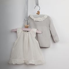 Lovely little ensemble - I like how the soft ruffle at the sweater neckline matches the ruffle at the hem of the dress  Belle Enfant