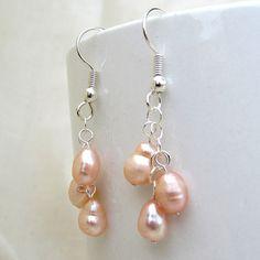 Pink Pearl Cluster Earrings Freshwater Pearl by SaltwaterDaydreams