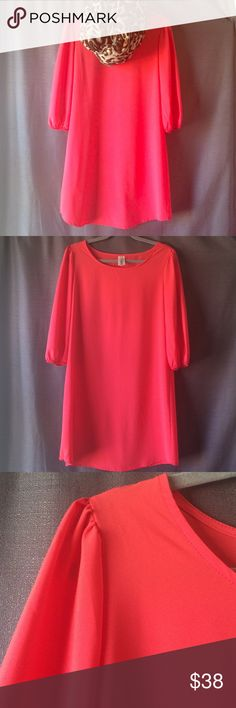 Coral 3/4 Sleeve Dress NWOT New, without tags. Made in the USA. 100% Polyester. Brenda's Dresses
