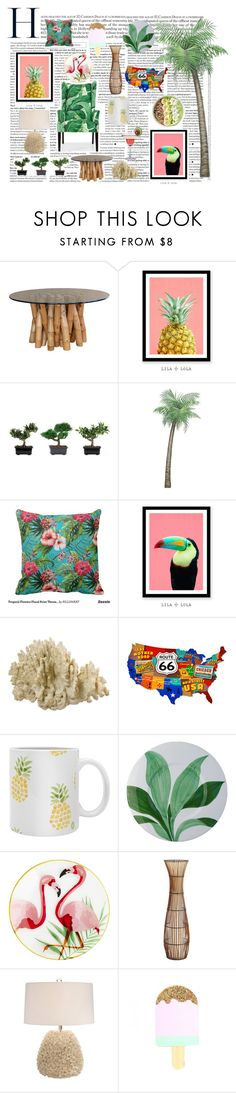 """Palm tree decor"" by georgianna2000 on Polyvore featuring interior, interiors, interior design, home, home decor, interior decorating, Nearly Natural and Pier 1 Imports"