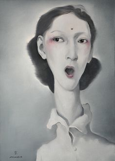 An Kun, The Female Singer, oil on canvas Collection Galerie Kunstbroeders