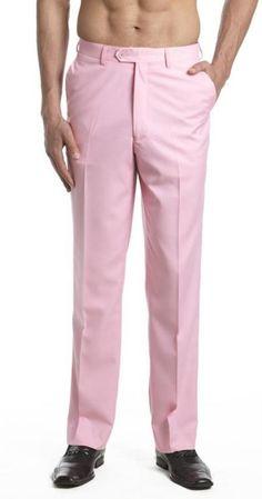 Rosado Plano Frente Vestir Pantalón