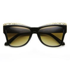 Women's Trendy Fashion Pointed Metal Cut Out Cat Eye Sunglasses 9603