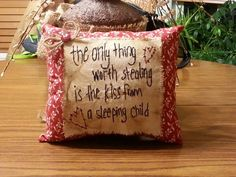 Stealing a kiss from a sleeping child prim pillow Source by Primitive Embroidery, Primitive Stitchery, Primitive Crafts, Sewing Art, Sewing Crafts, Sewing Projects, Cross Stitch Embroidery, Embroidery Patterns, Hand Embroidery