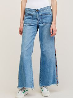 Viola Embroidered Wide Leg | Super soft and lightweight jeans in a mid-rise with…
