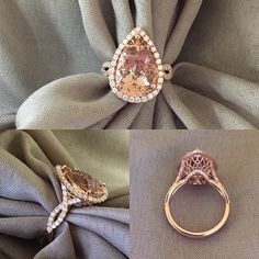 Wow! This custom pear shaped halo engagement ring is one of our favorite designs that we have ever created. This custom ring was based on style number HE108-M and features a gallery based on style number FR-04. This 14kt rose gold ring is set with a 6.00+ carat fancy cut pear morganite.