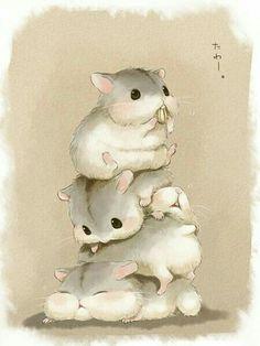hamster, animal, and kawaii afbeelding Cute Animal Drawings, Kawaii Drawings, Cute Drawings, Kawaii Shop, Kawaii Art, Hamster Kawaii, Cute Hamsters, Cute Animal Videos, Cute Chibi