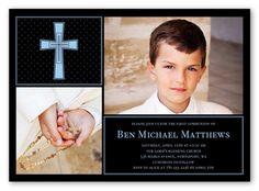 Polka Dot Cross Boy 5x7 Invitation   First Communion Invitations   Shutterfly