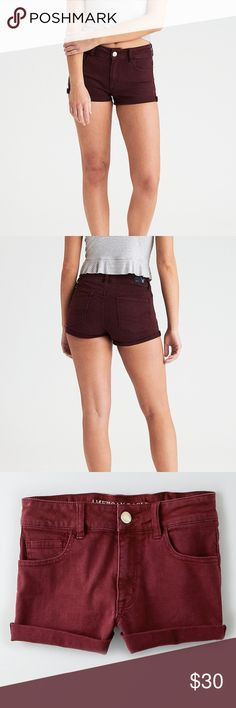 NWT AEO High Waisted Shorts American Eagle Outfitters. Beautiful burgundy color. High waisted. Size 4. Super stretch. Feel free to contact me with any questions!  Waist: 26 (High waisted garments have slimmer waist measurements. I'm a true size 4 and they fit, plus they are super stretchy) Rise: 9 American Eagle Outfitters Shorts