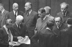 This photograph was taken during the trial in Nuremberg of senior officials in the chemical company IG Farben, whose subsidiary Degesch produced the Zyklon B gas used for the mass murder of the Jews in the gas chambers of Auschwitz and Majdanek.