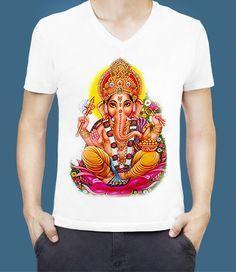 GANESH T-Shirt, HINDU GOD T Shirt for Hinduism, Lord Ganesha, Ganapati, Ganpati, Sri Ganesh, Shri Ganesha Hindu God T-Shirts, ฿250.00