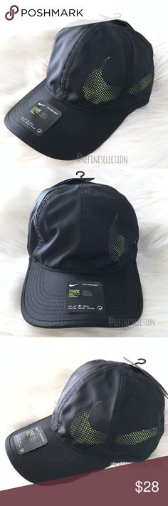 Nike Aerobill Featherlight Perforated Hat Cap Brand new with tags, Adult, Unisex, One Size. This  Nike Aerobill Featherlight Perforated Hat Cap comes in the Black and Volt (yellow green) colorway. All black with perforations that make out the Nike swoosh logo in volt! Made of featherlight Dri-Fit material, it keeps you cool and dry. Adjustable velcro straps. This dad style hat is so on trend right now. Perfect hat if you play tennis as well. Made of 100% Polyester. Nike Accessories Hats