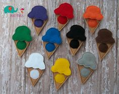 Ice cream cone color matching game embroidered, educational, montessori, memory, learning, color game, primary colors, color mixing by DesignsByRAJA on Etsy