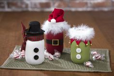 Santa, Snowman and Elf Chalky Paint Mason Jars
