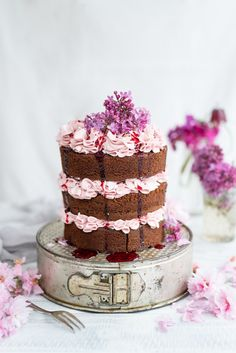 chocolate layer cake with blackberry Italian buttercream