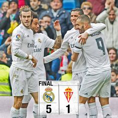 """Real Madrid 5-1 Sporting ⚽️ 7' @GarethBale11 ⚽️ 9' @Cristiano ⚽️ 12' @KarimBenzema ⚽️ 18' @Cristiano ⚽️ 41' @KarimBenzema ⚽️ 62' Isma López #RMLiga…"""