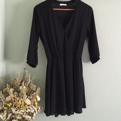 NWOT Nordstrom Black 3/4 Sleeve Wrap Dress Beautiful, never worn, dress perfect for any occasion! Lush Dresses