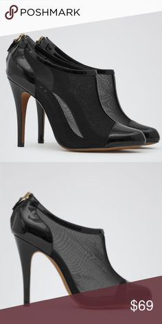 """Reiss Tobin Mesh black shoe boot Sz 8 Like new condition. The most gorgeous and sexy shoe! Reiss mesh shoe boots. Tobin in black is a round toe, high heeled shoe boot. Crafted from sheer black mesh with black patent leather toe caps and zip up detail to the back, this sexy, slim-heeled boot also has a flash of patent to the insole. Heels are 4"""" Reiss Shoes Ankle Boots & Booties"""