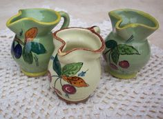 Vintage Miniature Italian Pitchers Handpainted in Olive Green and Cream
