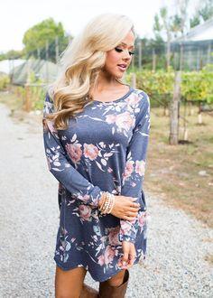Boutique, Online Boutique, Women's Boutique, Modern Vintage Boutique, Dress, Charcoal Dress, Floral Dress, Long sleeve Dress, Short Dress, Cute, Fashion