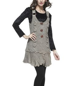 Take a look at this Oatmeal Three-Button Wool-Blend Layered Tunic on zulily today!