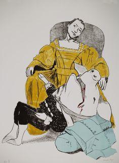 Paula Rego Unhappy Courtship 2006 Lithograph coloured 77 x 62 cm Paper: 87 x 64,5 cm  Série Prince Pig  Artist's proof