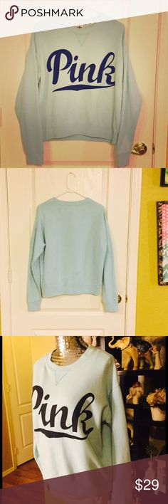 VS PINK Blue on blue 💙 cozy sweatshirt 💙 Used but still in good condition. Great for layering in the winter, where and long sleeve shirt underneath and this overtop to see the layer underneath by your lower midsection. It's super soft and cozy, this is a great winter sweater that is also fashionable and if you have blue eyes like I do you will get compliments all day long because this blue will make them pop. All pictures are real color and have not been filtered. All Sales are final. PINK…